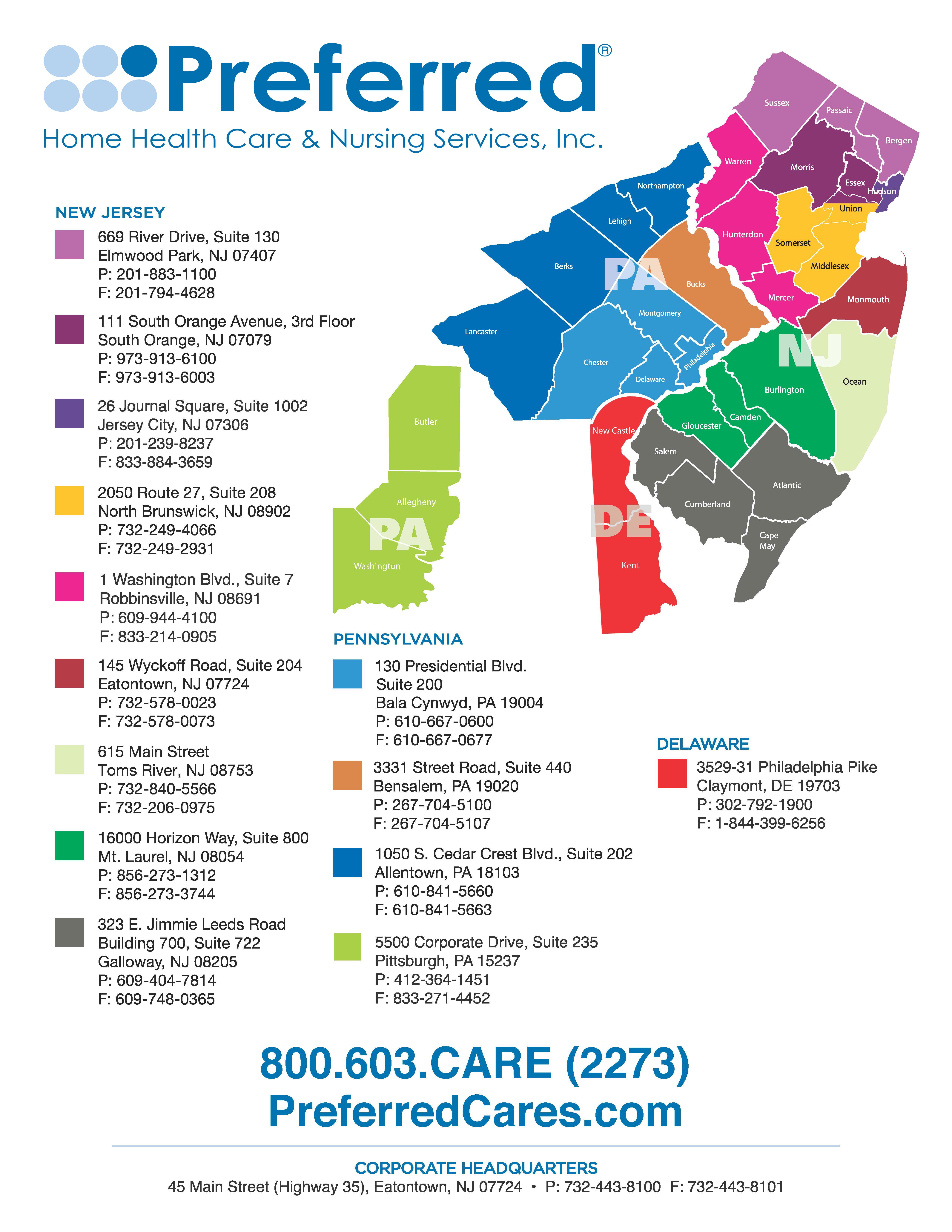 Preferred Home Health Care & Nursing Services Coverage Area Map